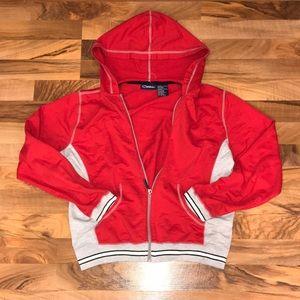 Red+Grey zip up hoodie jacket